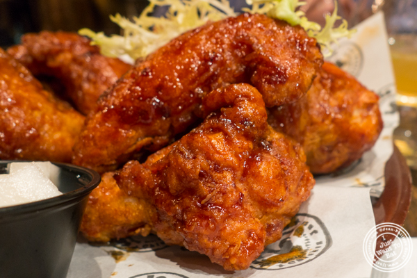 Hot and spicy fried chicken at Turntable LP Bar and Karaoke in K-Town, NYC