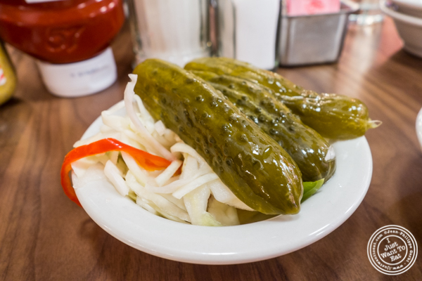 Sour pickles and pickled cabbage at Junior's on 49th St. and Broadway, NYC