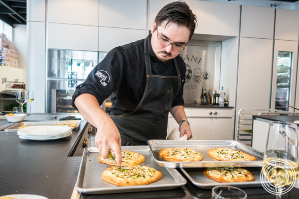 Chef Ken preparing the Truffle asparagus pizette at Urbani Truffle Lab in NYC, NY