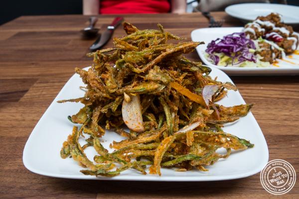 Crispy okra at Imli Urban Indian Food on the Upper East Side, NYC