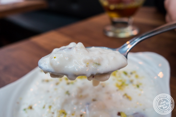 Kheer or rice pudding at Imli Urban Indian Food on the Upper East Side, NYC