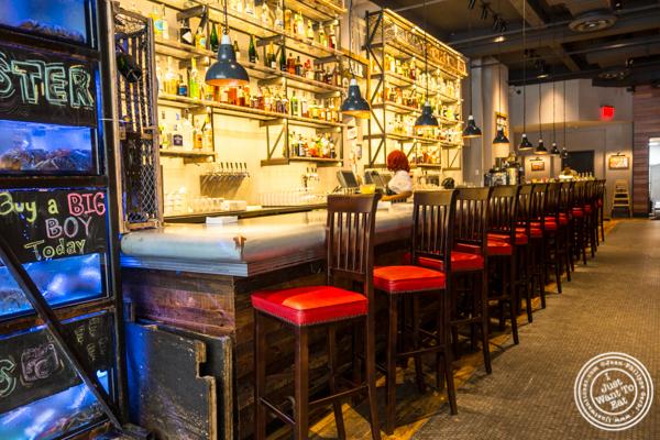 Bar area at Burger and Lobster in NYC, NY