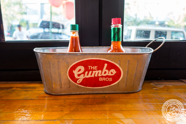 Hot sauce at The Gumbo Bros in Brooklyn