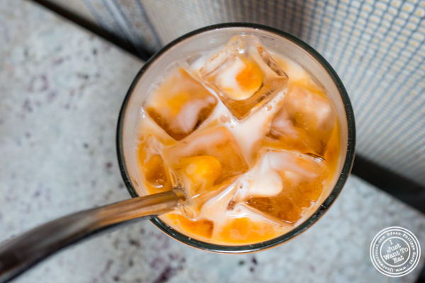 Spiked Thai iced tea at Laut in NYC, NY