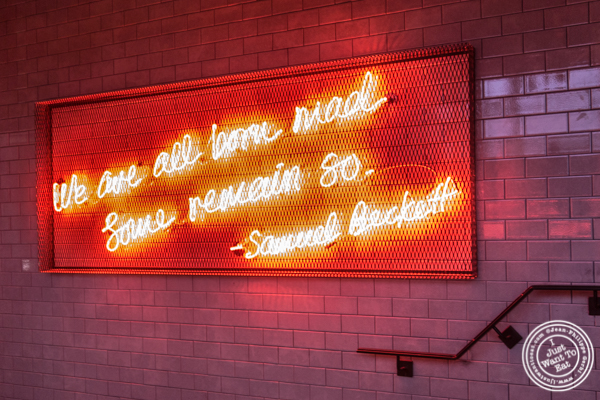 Quote from Samuel Beckett at Burger and Lobster in Times Square