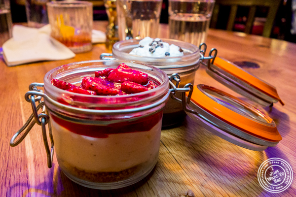 Strawberry cheesecake mousse at Burger and Lobster in Times Square