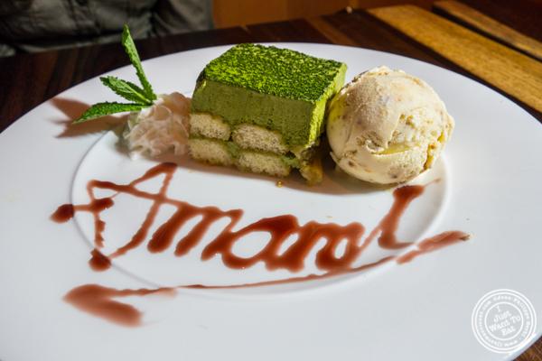Green tea tiramisu and Miso ice cream at Amami in Greenpoint, Brooklyn