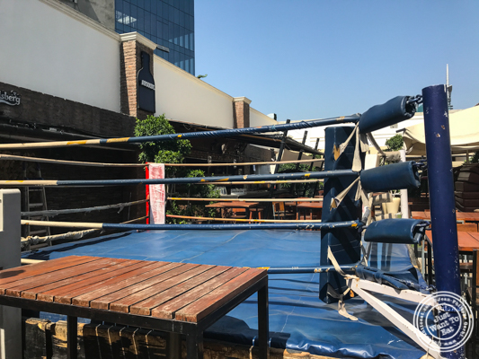 Boxing ring at Soi 7 Pub & Brewery at The Cyber Hub in Gurgaon, India