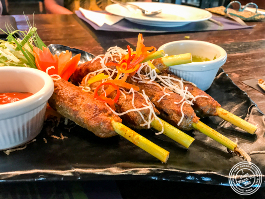 Thai lamb skewers at Soi 7 Pub & Brewery at The Cyber Hub in Gurgaon, India