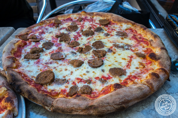 Margherita pizza with meatballs at Don Giovanni in Hell's Kitchen