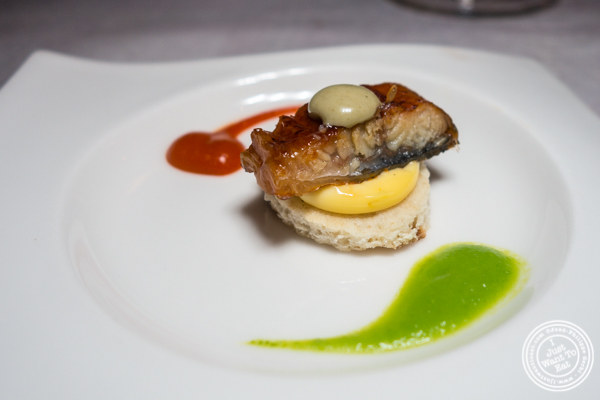 Smoked eel with wasabi sauce at Paname, French restaurant, in NYC, NY