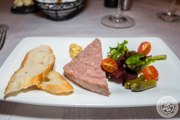 Pate maison aux cornichons at Paname, French restaurant, in NYC, NY
