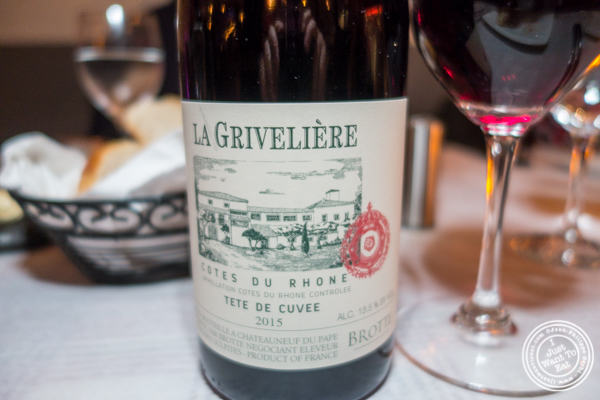 Cote du Rhone La Griveliere 2015 at Paname, French restaurant, in NYC, NY