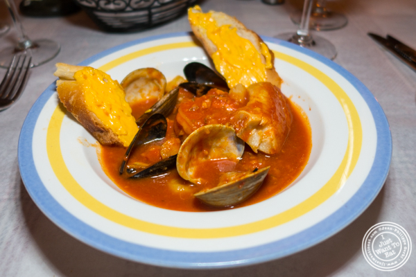 Bouillabaisse at Paname, French restaurant, in NYC, NY