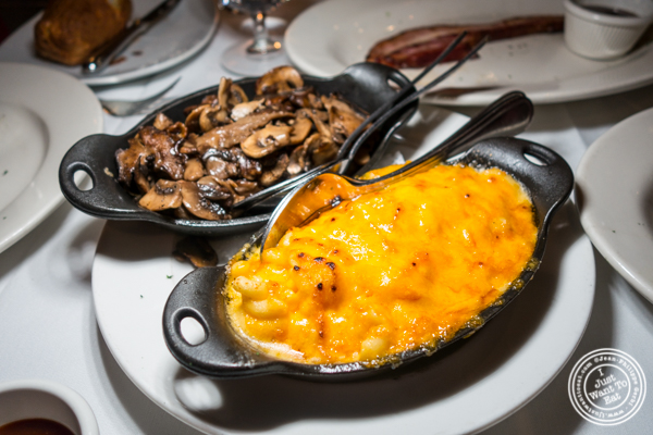 Mac & cheese and mushrooms at Lincoln Square Steakhouse on the Upper West Side, NYC