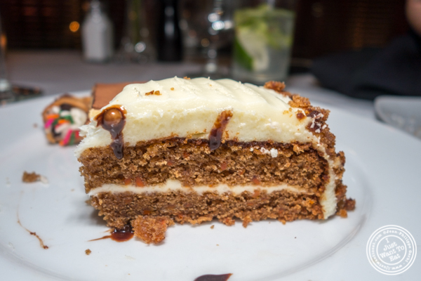 Carrot cake at Lincoln Square Steakhouse on the Upper West Side, NYC
