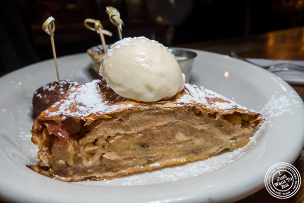 Apple strudel a la mode at Hudson Hall in Jersey City, NJ
