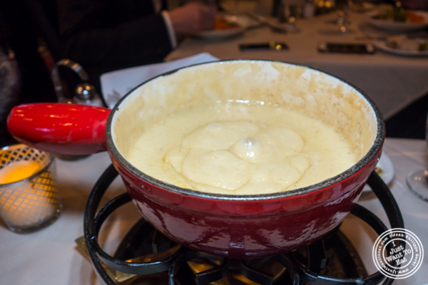 Swiss cheese fondue at Mont Blanc 52 in NYC, NY