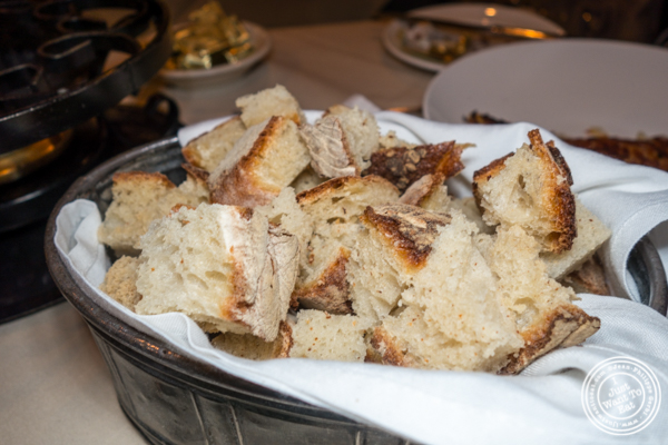 Cubes of bread at Mont Blanc 52 in NYC, NY