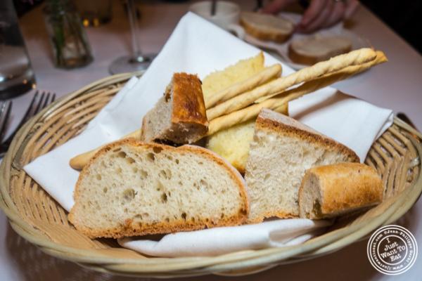 Bread basket at Basta Pasta in Chelsea, NYC