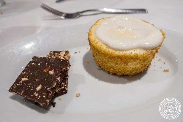 Cheesecake and chocolate pecan bark at Ruth's Chris in Manhattan