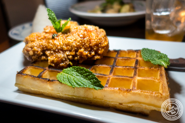 General Tso Chicken and waffle at Qi Bangkok Eatery in Hell's Kitchen
