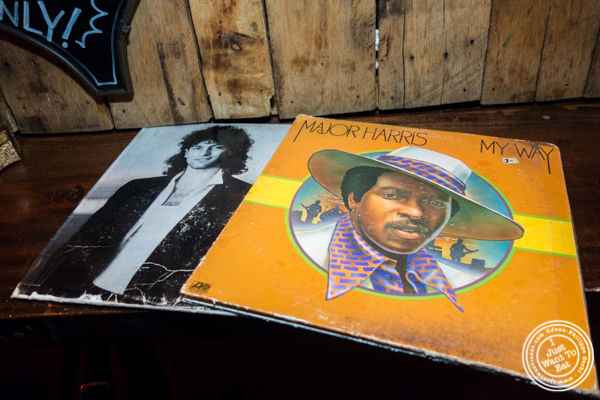 Record sleeves for menu at The Baroness in Long Island City