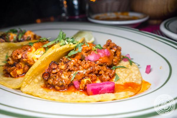 Pulpo y chorizo tacos at Tacuba in Hell's Kitchen, NYC, NY