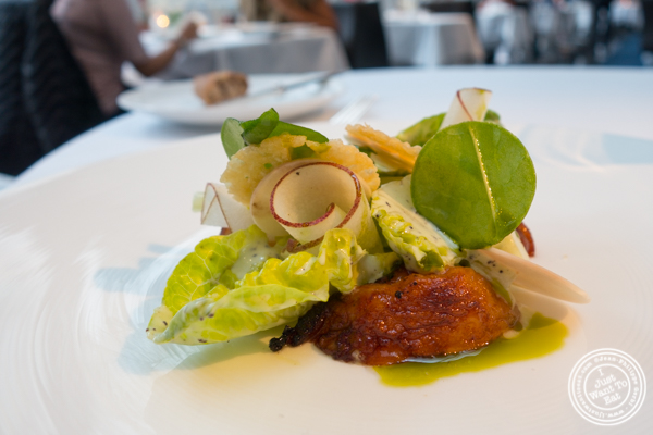 Warm red pear and lettuce hearts at The Modern next the MOMA