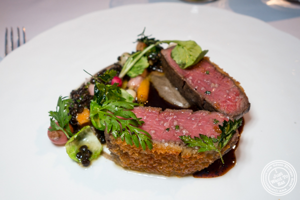 Beef crusted in aged comte at The Modern next the MOMA