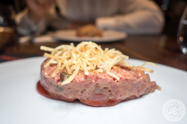 Steak tartare at Nusr-Et Steakhouse in NYC
