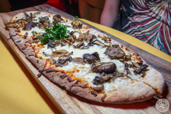 Mushroom flatbread at The Flatiron Room in NYC. NY