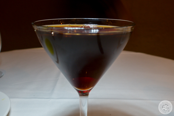 Manhattan Nero cocktail at Babbo Ristorante e Enoteca in NYC, NY