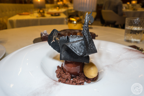 Decadent chocolate caramel at Gabriel Kreuther in NYC, NY
