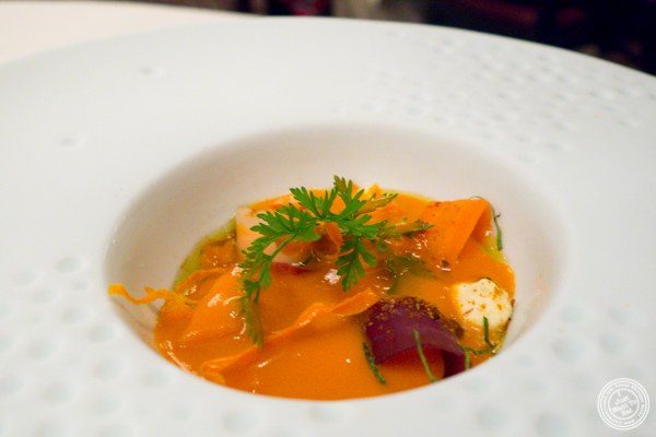 Carrot velouté at Daniel in NYC, NY