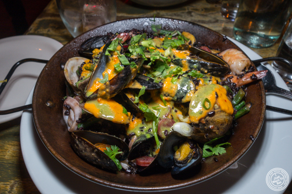 Black rice seafood paella at Calle Dão in NYC, NY