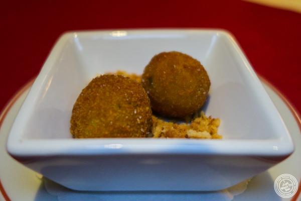 Arancini amuse at Café Boulud in NYC, NY
