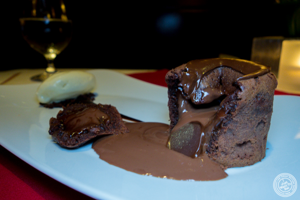Molten chocolate cake at Café Boulud in NYC, NY