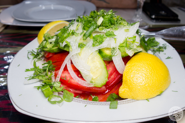 Fresh vegetable salad at U Yuri Fergana in Rego Park, Queens