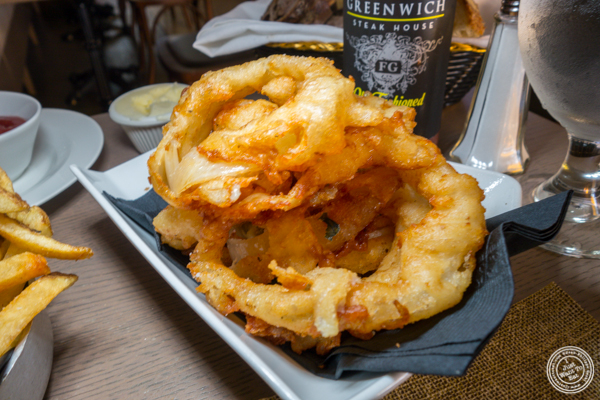 Onion rings at Greenwich Steakhouse in NYC, NY