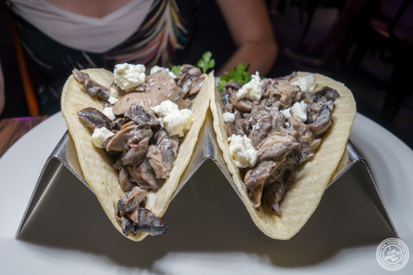 Mushroom tacos at Sexy Tacos Dirty Cash in Harlem