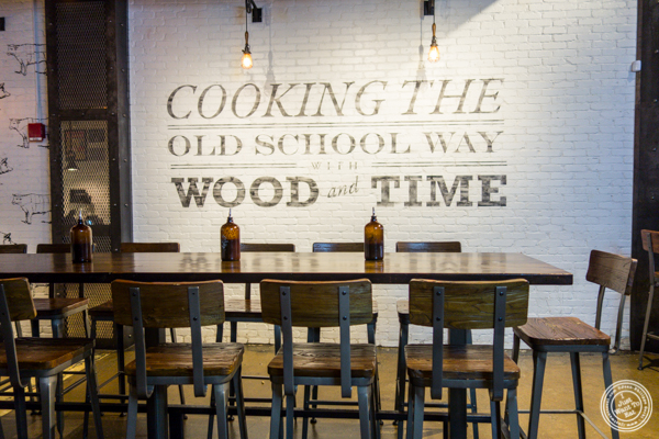 Dining room at Mighty Quinn's BBQ near Times Square