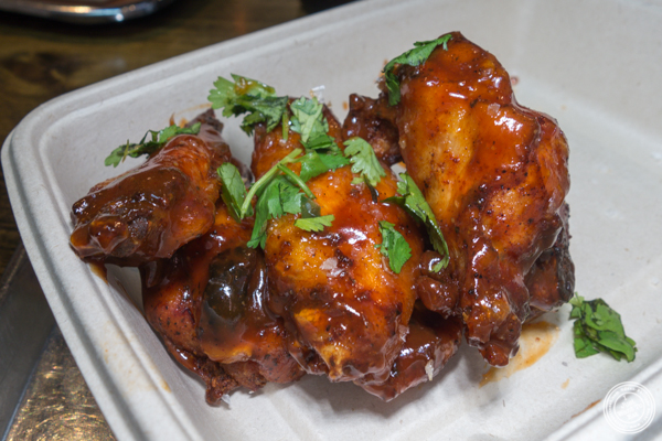 Chicken wings at Mighty Quinn's BBQ near Times Square