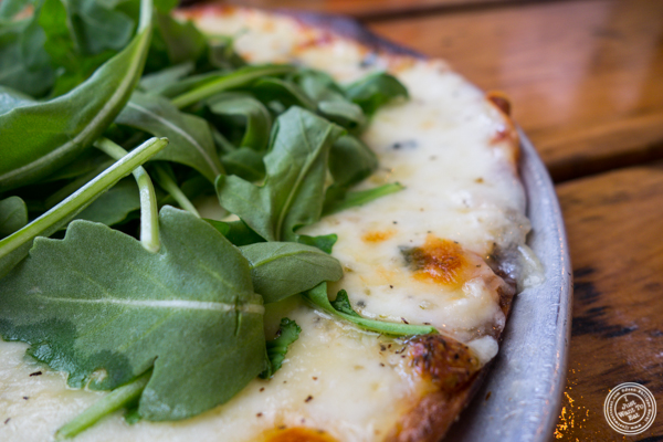 Formaggio bianco pizza at Tappo Thin Crust Pizza in NYC, NY