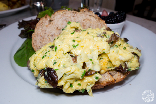 Mushroom scrambled eggs at La Bergamote in Chelsea