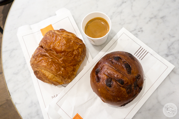 Chocolate croissant and white chocolate bread at Maison Kayser in Washington DC