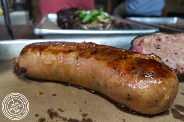 Homemade Italian sausage at Hometown Bar-B-Que in Brooklyn