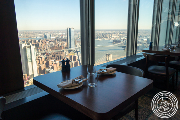 Table with a view at Manhatta in NYC, NY