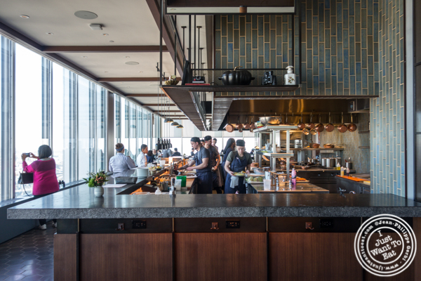 Open kitchen at Manhatta in NYC, NY