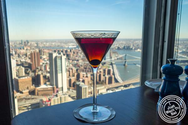 Manhattan cocktail at Manhatta in NYC, NY